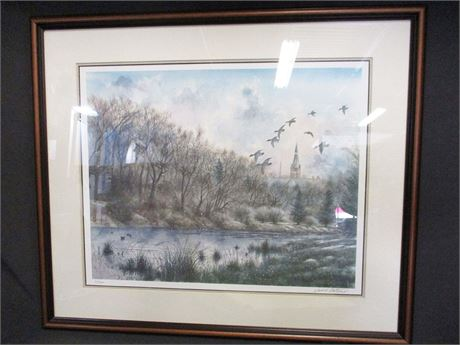 DAVID CATROW WINTER SCENE PRINT #27/500, SIGNED BY THE ARTIST