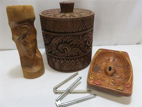 Hand Carved Wooden Ice Bucket & Decoratives