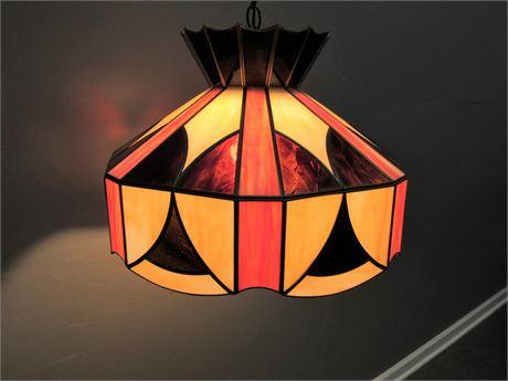 Leaded Slag Glass Hanging Lamp