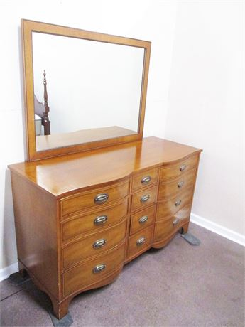 HERITAGE HENREDON INLAID 12-DRAWER DRESSER WITH MIRROR