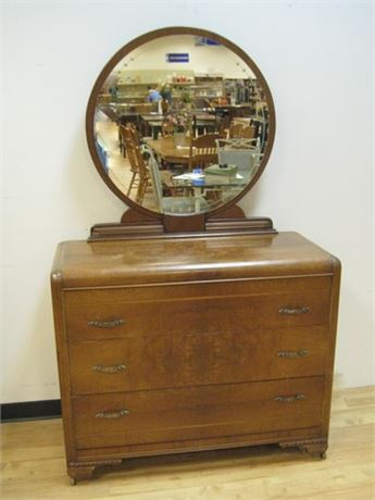 VINTAGE WATERFALL DRESSER WITH MIRROR