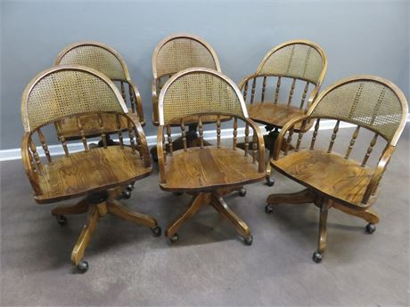 6 Oak Swivel Chairs