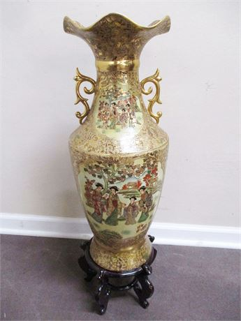 LARGE CHINESE FLOOR VASE WITH STAND