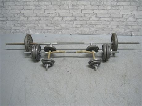 GOLD'S GYM BARBELL/DUMBBELL SET WITH WEIGHTS