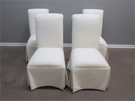 4 Lane Furniture Upholstered Skirted Dining Chairs on Casters