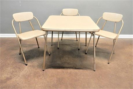 Vintage Folding Card Table and Three Chairs