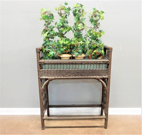 Vintage Authentic Wicker Plant Side with Four Artificial Topiaries