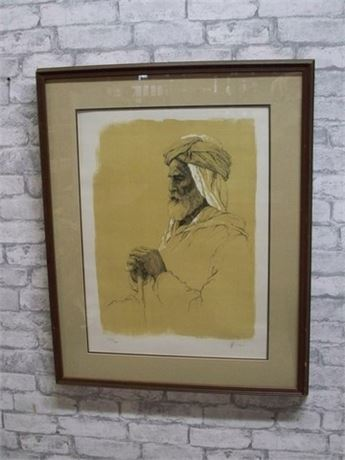 "FRAMED DOUBLE MATTED AND NUMBERED (#152/200) LITHOGRAPH - ""OLD MAN"" BY WEINTRAUB"