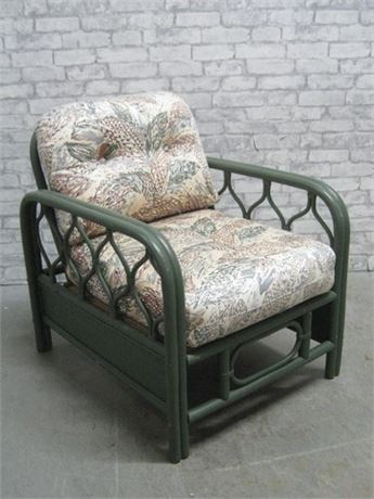 GREEN PAINTED RATTAN SUNROOM FURNITURE CHAIR