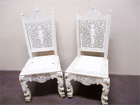 ANTIQUE ANGLO-INDIAN CARVED CHAIRS