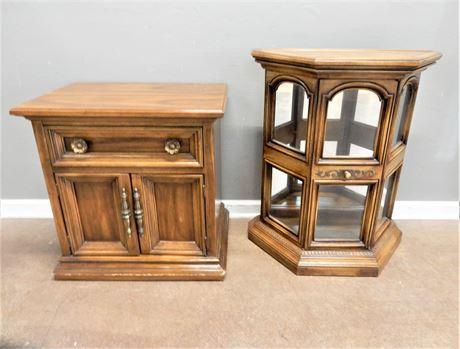 Vintage Wood Side Table & Small Wood Curio