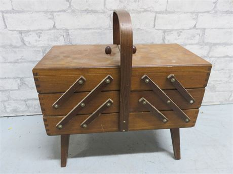 Vintage Wooden Accordian Sewing Box