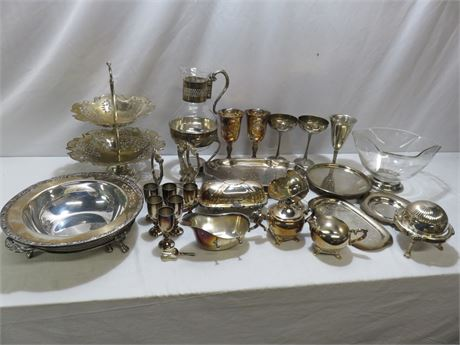 Vintage 26-Piece Silverplate Lot