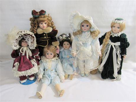 6 Piece Porcelain/Bisque Doll Lot