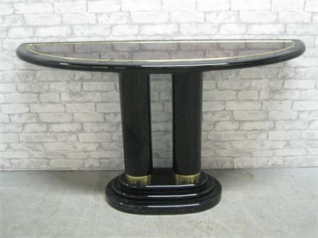HENREDON SCENE THREE BLACK & WOODGRAIN LAMINATE CONSOLE TABLE W/ BRASS TRIM