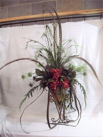 LARGE ARTIFICIAL FLORAL ARRANGEMENT WITH METAL AND WROUGHT IRON VASE