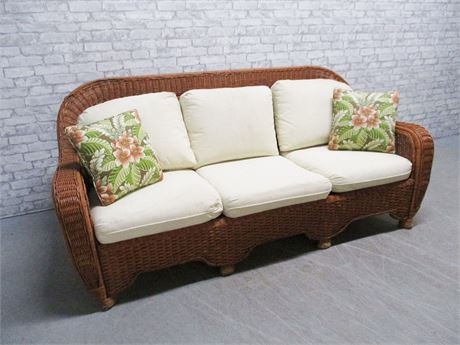 Vintage Wicker Sofa By Henry Link