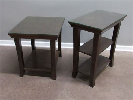 2 End/Side Tables with Protective Glass tops