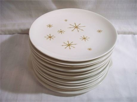 ROYAL CHINA STAR GLOW MID CENTURY DINNER PLATES AND PLATTER - 13 PIECES