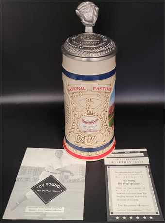 CY YOUNG COMMEMORATIVE AND AUTHENTICATED VINTAGE BEER STEIN NEW IN BOX