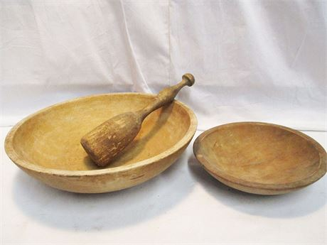LOT OF 2 PRIMITIVE DOUGH BOWLS AND MASHER