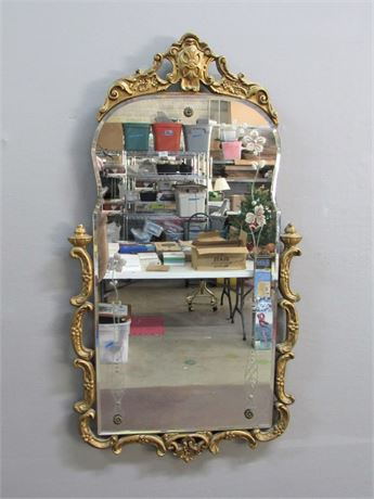 Vintage Etched Glass Mirror with Gold Finished Frame