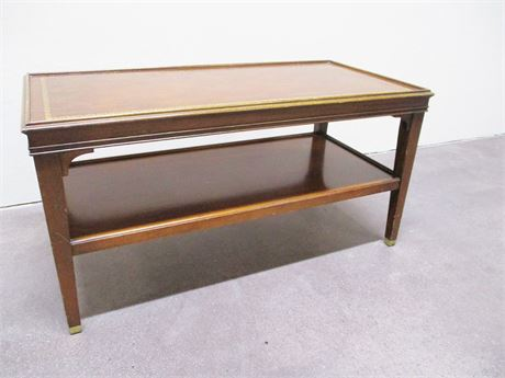 VINTAGE MAHOGANY COFFEE TABLE WITH LEATHER INLAY TOP