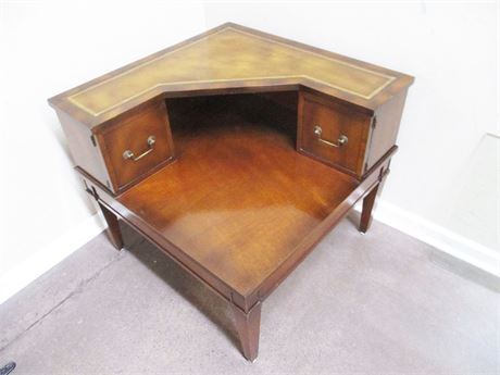 VINTAGE LEATHER INLAID CORNER TABLE