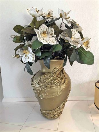 Large Gold Vase & Floral Arrangement