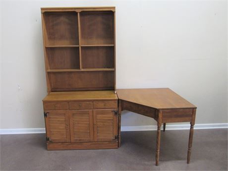 ETHAN ALLEN/BAUMRITTER 3 PIECE STORAGE HUTCH WITH CORNER DESK