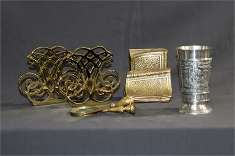 Brass Bookends, Letter Opener, Magnifying Glass and Pewter Cup from Germany