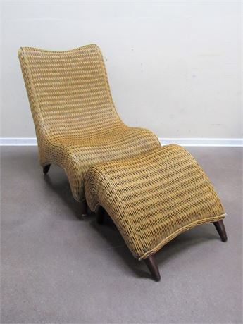 WICKER CHAIR WITH LEG REST/FOOT STOOL