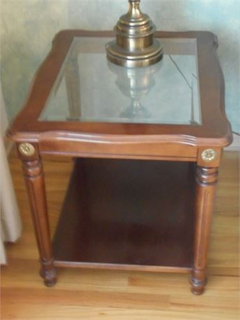 BEVELED GLASS AND WOOD END TABLE