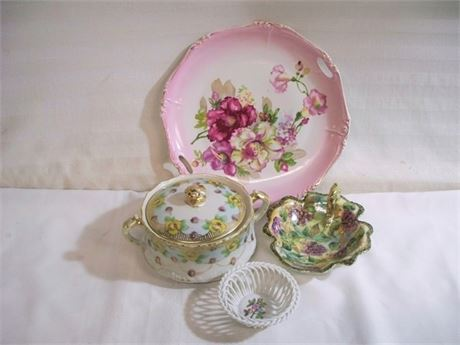 4 PIECE MISC. CHINA LOT INCLUDING NIPPON AND HEREND