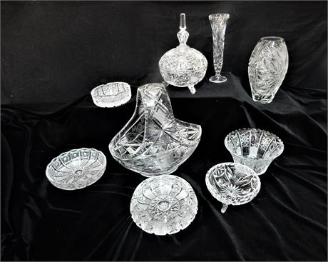 Large Crystal Basket Two Vases Candy Dishes and More