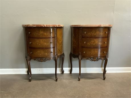 (2) Marble Top Accent Tables