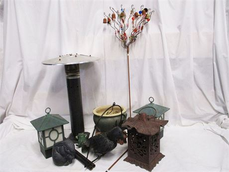 LOT OF GARDEN DECOR WITH A TIKI TORCH