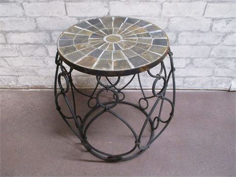SLATE MOSAIC AND WROUGHT IRON SIDE TABLE