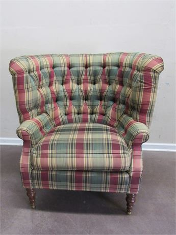 NICE HARDEN CURVED HIGH-BACK TUFTED PLAID OCCASIONAL CHAIR
