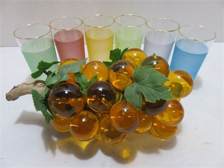 Decorative Amber Art Glass Grapes - 6-Piece Colored Glass Set