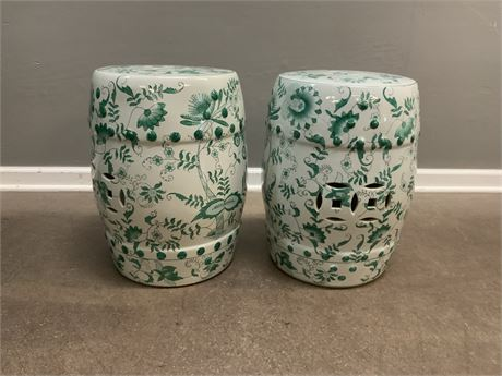 (2) Porcelain Chinese Side Tables