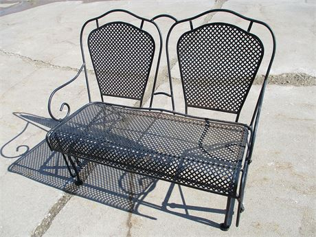 WROUGHT IRON GLIDER BENCH