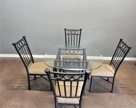 Contemporary Metal and Glass Dining Set