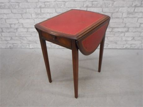 VINTAGE BARNARD AND SIMONDS TOOLED LEATHER DROP LEAF SIDE TABLE WITH 1 DRAWER