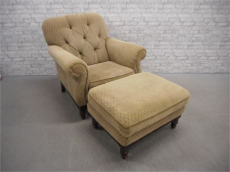 BERNHARDT OCCASIONAL CHAIR AND OTTOMAN