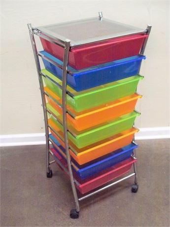 8-TIER CART WITH COLORFUL SLIDE-OUT BINS