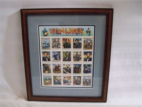 FRAMED AND DOUBLE MATTED CIVIL WAR COMMEMORATIVE STAMPS