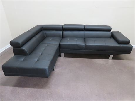 Contemporary Faux Leather Sectional Sofa