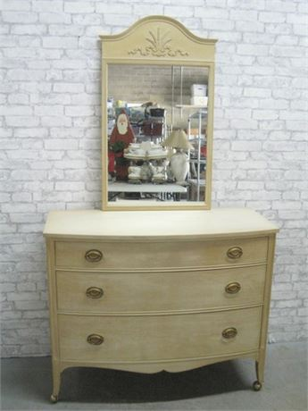 VINTAGE PAINTED DREXEL DRESSER WITH MIRROR ON CASTERS