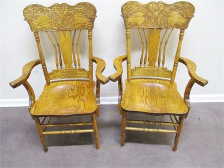 LOT OF 2 VINTAGE PRESSBACK OAK CAPTAIN CHAIRS BY SHIN-LEE